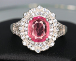 Natural Tourmaline, CZ & 925 Fancy Sterling  Silver Ring