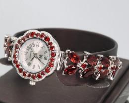 Natural Rhodolite Garnet Lady's Watches  & 925 Sterling  Silver