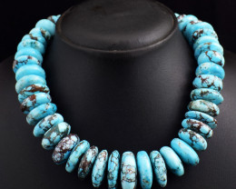 Genuine 1209.00 Cts Turquoise  Beads Necklace