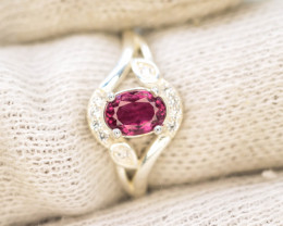 10.75  Ct Silver Ring ~ With Natural Rubylite Tourmaline Stone