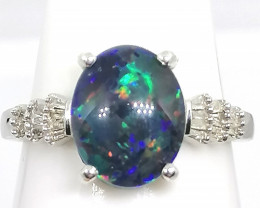 Triplet Boulder Opal and Diamond Ring 2.25tcw.