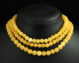 Genuine 575.00 Cts 3 Line Aventurine  Beads Necklace
