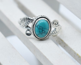 TURQUOISE RING 925 STERLING SILVER NATURAL GEMSTONE JR1146