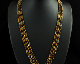 Genuine 219.00 Cts 5 Line Tiger Eye  Beads Necklace