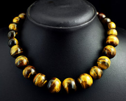 Genuine 498.00 Cts Tiger eye Beads Necklace