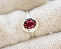 9.90Ct Silver Ring ~ With Natural Rubylite Tourmaline Stone