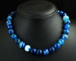 Genuine 489.00 Cts Faceted Onyx Beads Necklace