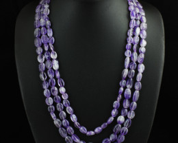 Genuine 503.00 Cts 3 Line Amethyst Beads Necklace