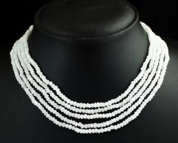 Genuine 191.00 Cts 5 Line White Quartz Beads Necklace