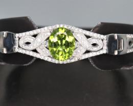Natural Peridot, CZ & 925  Fancy Sterling  Silver Bracelet