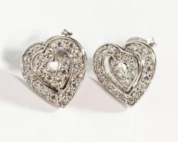 Modern Heart  Style Sterling Silver 925 Earring