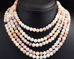Genuine 668.00 Cts 5 Line Pink Australian Opal  Beads Necklace