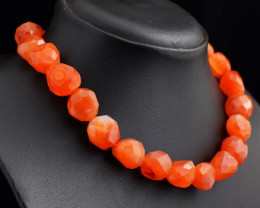 Genuine 586.00 Cts Faceted Carnelian  Beads Necklace