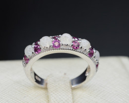Natural Opal and Rhodolite Garnet Silver Ring