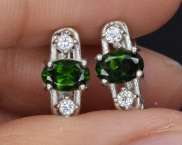 Natural Green Chrome Diopside , CZ and 925 Silver Earrings