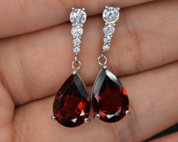 NaturalRhodolite , CZ and 925 Silver Earrings