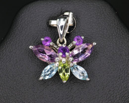 Natural Multi Stone & 925 Beautiful Butterfly Sterling  Silver Pendant