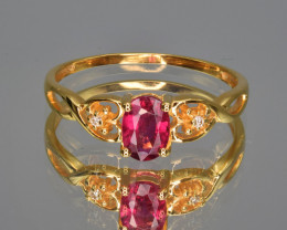 Natural Rubelite, Diamonds and 9 K Yellow Gold Ring, Elegant Design