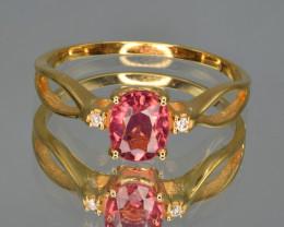 Natural Pink Tourmaline, Diamonds and 9 K Yellow Gold Ring, Elegant Design