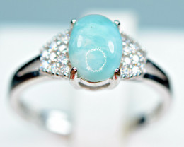 Natural  blue Larimar , CZ 925 Silver Ring