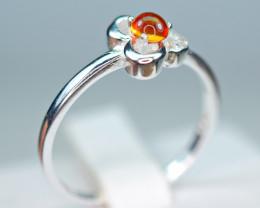 Natural Orange  Sapphire,CZ 925 Silver Nice Ring