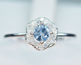 Natural transparent high quality Sapphire,CZ 925 Silver Ring