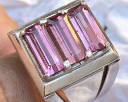 Natural Pink Tourmaline 3 Piece Ring