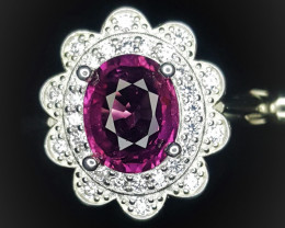19.15 Crts Natural Rubellite Tourmaline With Rhodium Coated 92.5 Silver & C