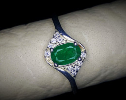 10.80 Crts Natural Emerald Ring With Rhodium Coated 92.5 Silver & CZ