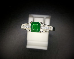 10.50 Crts Natural Emerald Ring With Rhodium Coated 92.5 Silver & CZ