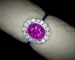 14.65 Crts Natural Tourmaline Ring With Rhodium Coated 92.5 Silver & CZ
