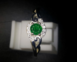 11 Crts Natural Emerald Ring With Rhodium Coated 92.5 Silver & CZ