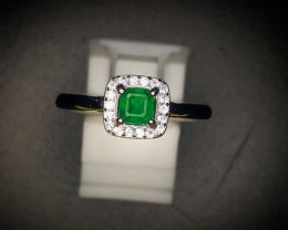 14.70 Crts Natural Emerald Ring With Rhodium Coated 92.5 Silver & CZ