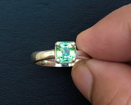 15.80 Ct Natural Green Transparent Tourmaline Gemstone Ring Solid Silver