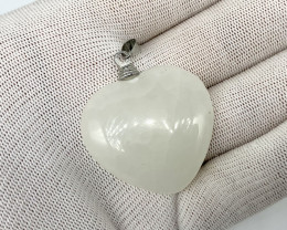 Natural 75.00 Carats white onyx 925 Silver Pendent.