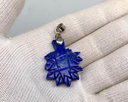 43 carat lapis lazuli  silver pendents, 31x25x6 mm.