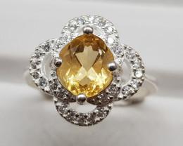Natural Yellow Citrine 18.70 Carats 925 Silver Ring