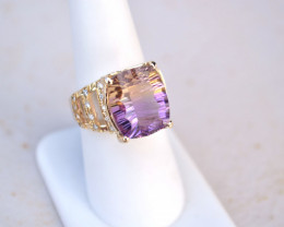 10 Carat Ametrine Gold and Diamond Ring