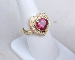 3 Carat Heart Shaped Pink Tourmaline Gold and Diamond Ring