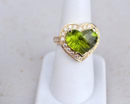 8 Carat Hear Shaped Peridot Gold and Diamond Ring