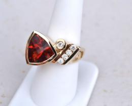 6 Carat Oregon Sunstone Gold and Diamond Ring