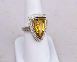 4 Carat Heliodor Gold and Diamond Ring