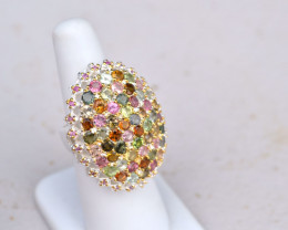 Gorgeous Tourmaline Cluster Ring in Sterling Silver