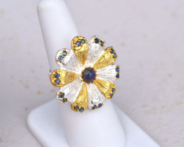 Opal and Sapphire Floral Ring in Sterling Silver