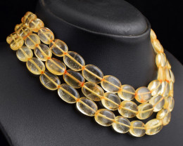 Genuine 616.00 Cts  3 Line Citrine  Beads Necklace