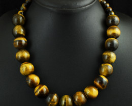 Genuine 636.00 Cts  Tiger Eye Beads Necklace