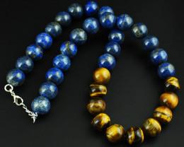 Genuine 824.00 Cts Lapis Lazuli & Tiger Eye   Beads Necklace