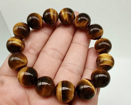 14mm brown tiger eye beads bracelet.