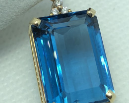 Natural Topaz And Diamond 18k Gold Pendant