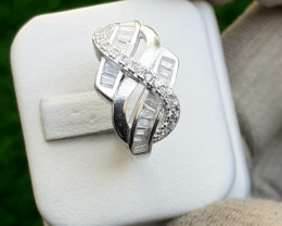 Natural 925 Silver Ring With CZ.